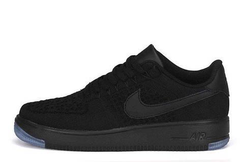 Мужские кроссовки Nike Air Force 1 Low Flyknit Black  Мужские кроссовки  найк аир форс лов 042a09d96b4