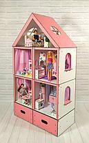 Кукольный Домик Большой Особняк Барби 5 комнат, 3 этажа + обои + шторы + мебель + текстиль + Box, фото 2