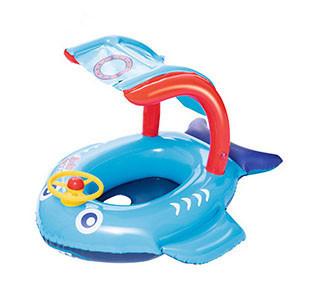 Надувной детский BW ПЛОТИК 34108 с навесом, голубой