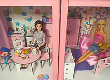 Кукольный домик Особняк Барби 2 этажа/3 комнаты + обои + шторы + текстиль + мебель + Box, фото 2