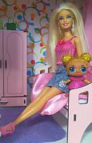 Кукольный домик Особняк Барби 2 этажа/3 комнаты + обои + шторы + текстиль + мебель + Box, фото 3