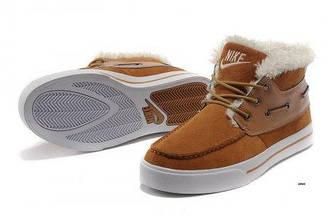 Оригинальные мужские зимние кроссовки Nike High Top Fur 05   найк топ фур рыжие