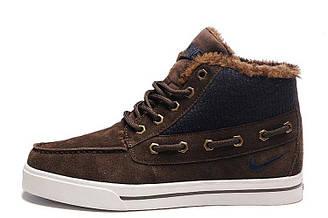 Оригинальные мужские зимние кроссовки Nike Sweet Classic Suede Winter Dark Brown найк коричневые