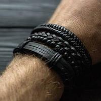 Браслет кожаный мужской mod.Collaba чёрный, фото 1