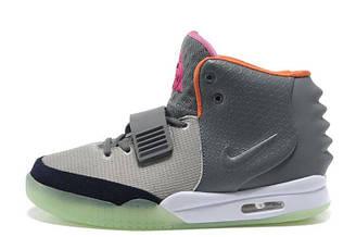 Мужские кроссовки Nike Air Yeezy 2 Grey Green Orange   найк аир изи серые