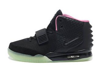 Мужские кроссовки Nike Air Yeezy 2 Black Green Red   найс аир изи черные