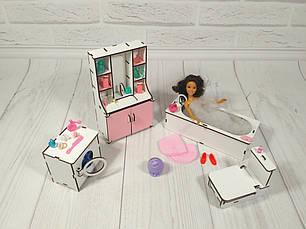 Комплект мебели для ванны кукольного домика, фото 2