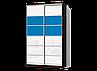 Угловой шкаф-купе с комбинированными фасадами из цветных глянцевых стекол, фото 9