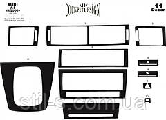 Наклейки на панель декоративные AUDI A4 8E 11.2000 (11 предметов, дерево)