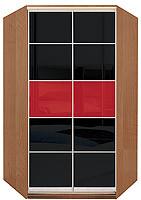Угловой шкаф-купе с комбинированными фасадами из цветных глянцевых стекол