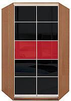 Кутова шафа-купе з комбінованими фасадами із кольорового глянцевого скла