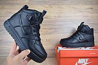 Кроссовки зимние мужские Nike Lunar Force 1 Duckboot черные кожаные (ТОП реплика)
