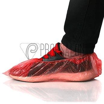 Бахилы, одноразовые, медицинские 3 гр 100 шт/ 50 пар, из полиэтилена, красные