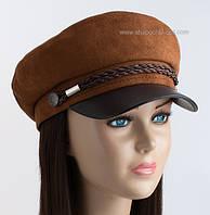 Утепленная женская кепка Симона сутаж замш коричневого цвета