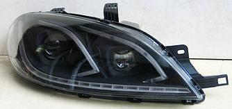 Передние фары LED тюнинг оптика Chevrolet Lacetti хетч (5 дверей) черные