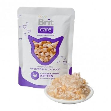 Суперпремиальный влажный корм для котят BRIT Care Cat Курица и сыр 80г