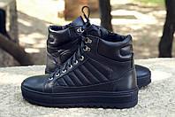 Мужские кожаные ботинки хайтопы на меху черные, фото 1