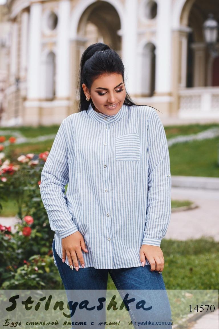 Большая льняная рубашка голубая полоска, фото 1