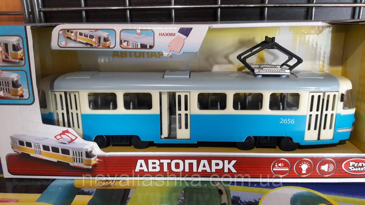 Трамвай модель металлический двери открываются