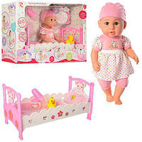 Кукла-пупс 6895 интерактивная с кроваткой, фото 1