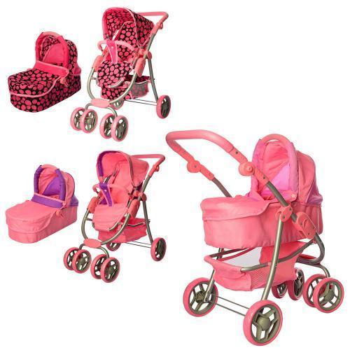 """Коляска 9662М для кукол нового """"модульного"""" типа 4-в-1, розово-фиолетовая"""