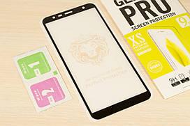 Защитное стекло Full Glue для Samsung Galaxy J4 Plus 2018 J415 клей по всей поверхности (Black)