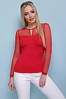 Красивая женская кофта с длинными рукавами из сетки в горошек Жаклин д/р красная