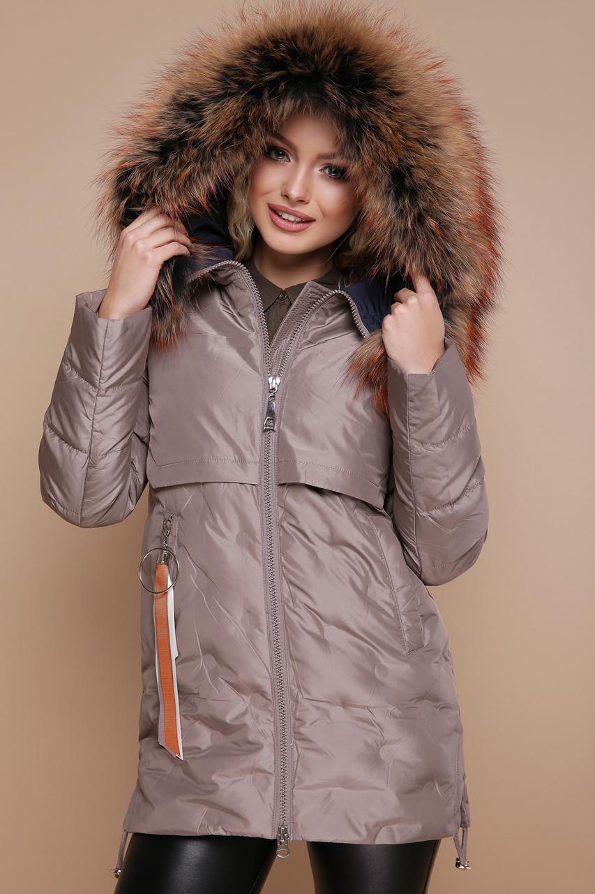 778975c9c15 Красивая женская теплая зимняя курточка на змейке с мехом на капюшоне Куртка  18-073