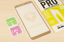 Защитное стекло Full Glue для Samsung Galaxy J4 Plus 2018 J415 клей по всей поверхности (Gold)