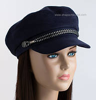 Женская стильная кепка Симона сутаж замш темно-синяя