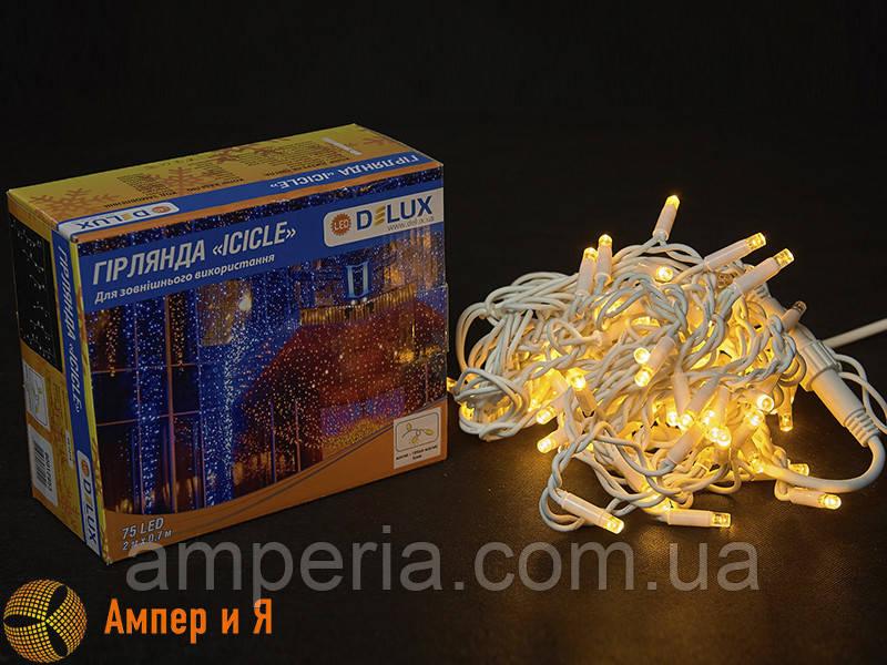 Гирлянда внешняя ICICLE 75 LED 2x0.7m 18 flash жёлтый/белый IP44 EN DELUX