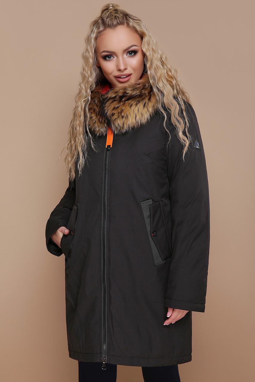 1c7970e34cf2 Теплая женская спортивная куртка-пуховик на молнии с мехом на капюшоне  большие ...