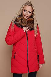 Зимняя женская курточка-пуховик на змейке с мехом и капюшоном большие размеры Куртка 18-182, красная