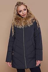 Женский зимний пуховик выше колен на молнии с мехом на капюшоне, большие размеры Куртка 18-182, синий