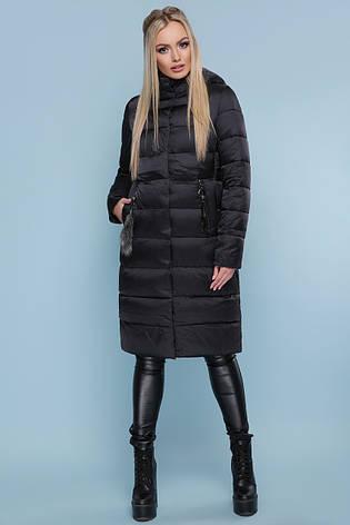 be6b5c5235d Красивый женский прямой пуховик до колен стеганый с мехом на кармане Куртка  200 черный