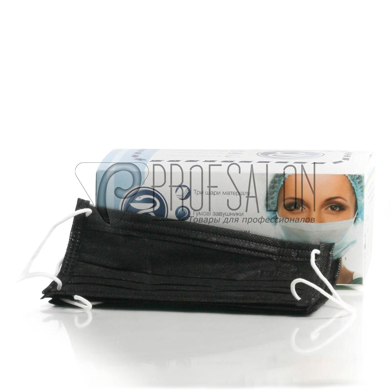 Маска медицинская, 4-х слойные, на резинке, с гибким носовым фиксатором, в упаковке 40 шт, Черные