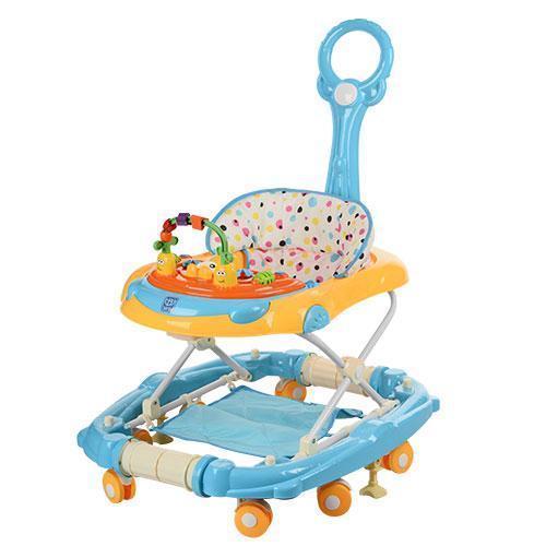 Детские ходунки M 3228-4 с родительской ручкой и музыкальным блоком, голубые