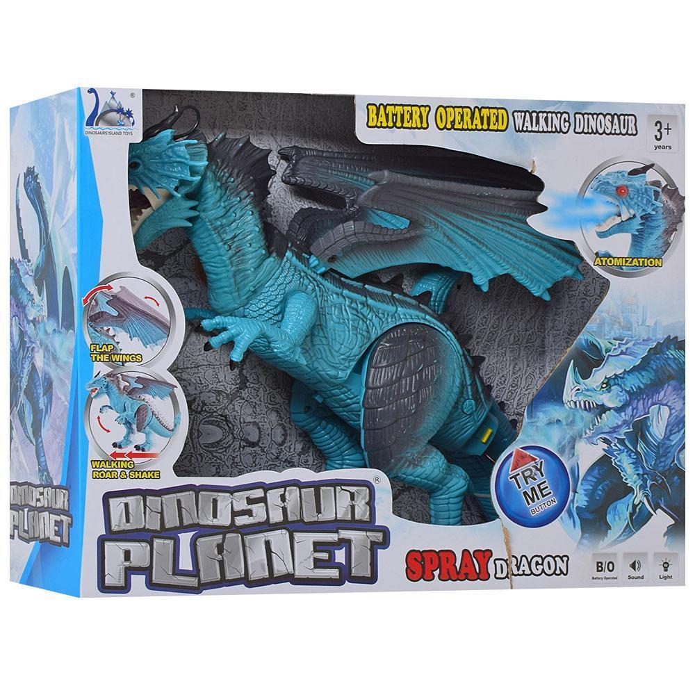 Динозавр RS6188A-9A, 48 см, пускает пар, ходит, двигает головой. Синий цвет.