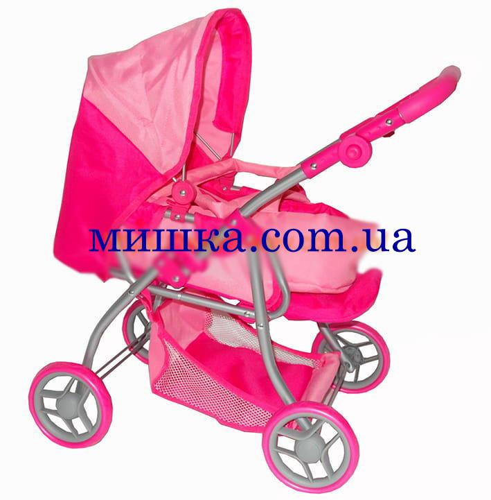 Коляска для куклы 9672 Melogo розовая  h = 62 cm, 2 в 1, классика