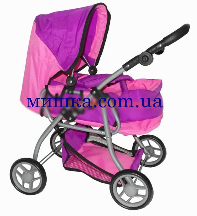 Коляска для куклы 9672 Melogo розово-фиолетовая  h = 62 cm, 2 в 1, классика