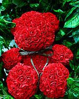 Красный мишка из роз - необычный подарок для девушки (40 см), фото 1
