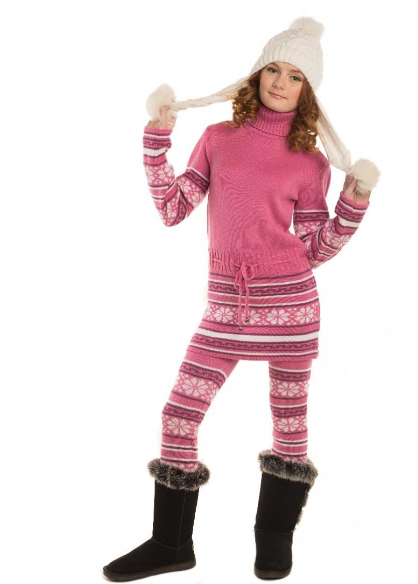 """Вязаный теплый костюм """"Мечта"""" розовый"""