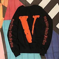Свитшот Vlone & Off White Co • Черный свитер • Оригинальный принт • Все размеры