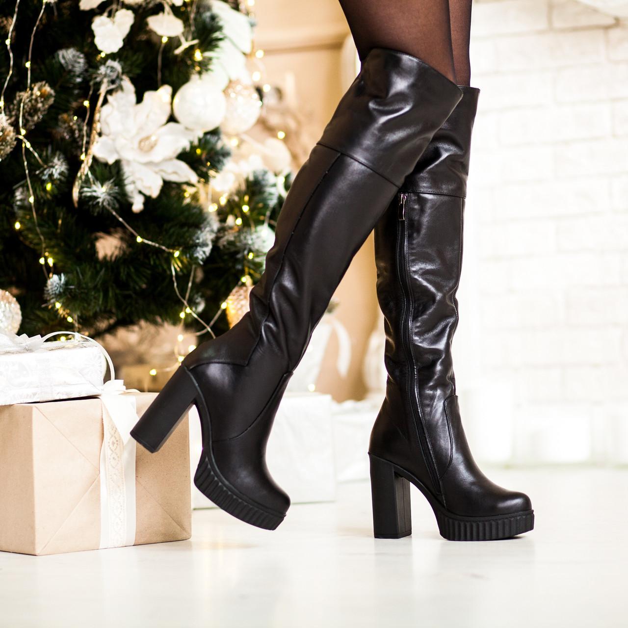 949a652be814 Женские зимние кожаные сапоги ботфорты на высоком толстом каблуке евро -  зима - VK-Style