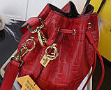 Сумка женская Фенди Mon Tresor, цвет красный, натуральная кожа, фото 2