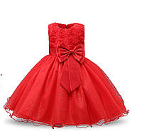 Детское нарядное платье красное  на 3-8 лет