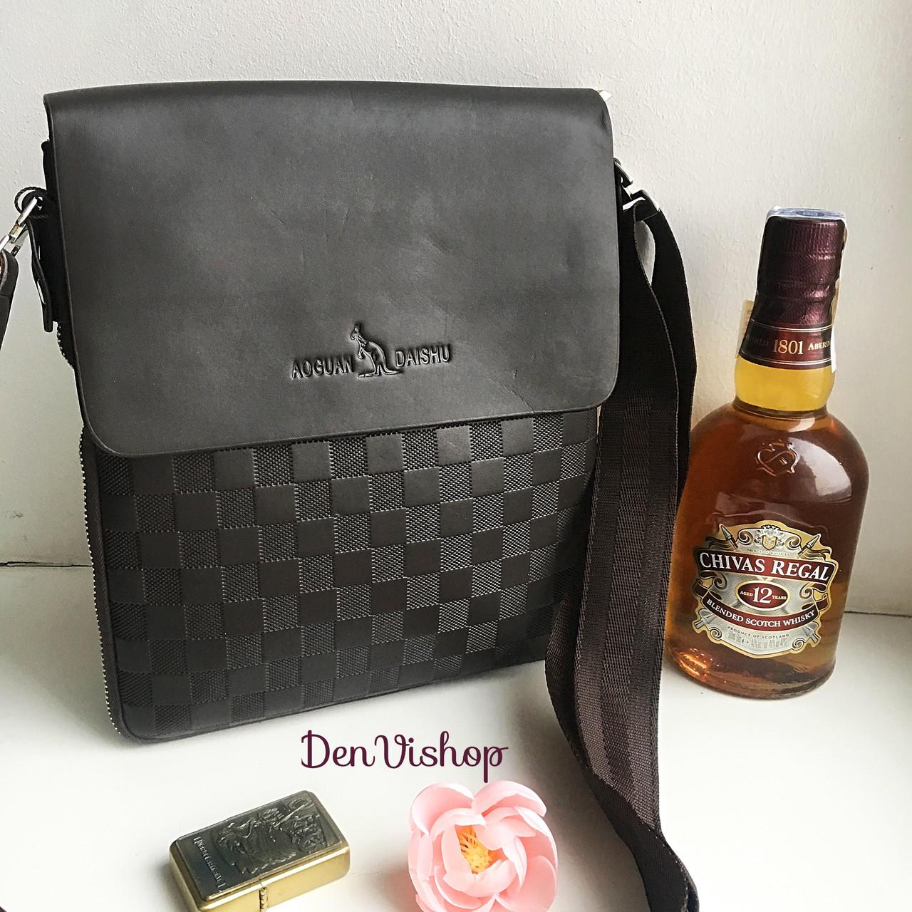 """Стильная коричневая сумка """"AUGUAM DAISHU"""" из эко-кожи."""