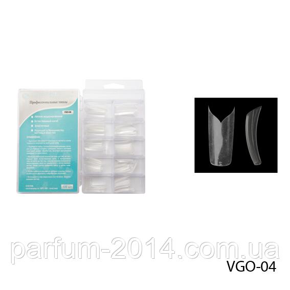 Нігті VGO-04 (за 100 шт) прозорі з фігурною лінією посмішки (одинарний виріз)