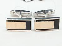 Серебряные запонки с эмалью и позолотой. Артикул 82053р, фото 1