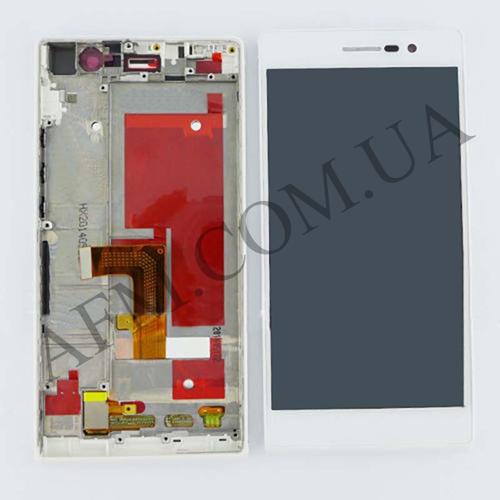 Дисплей (LCD) Huawei P7- L10 Ascend/  Sophia- L10 с сенсором белый + рамка